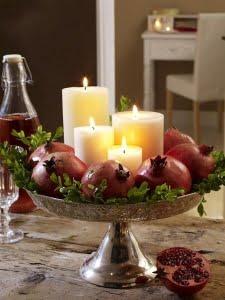 ظرف انار یلدا با شمع