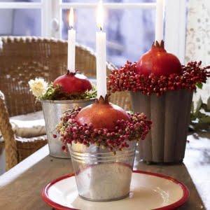 استفاده از انار یلدا به عنوان پایه شمع